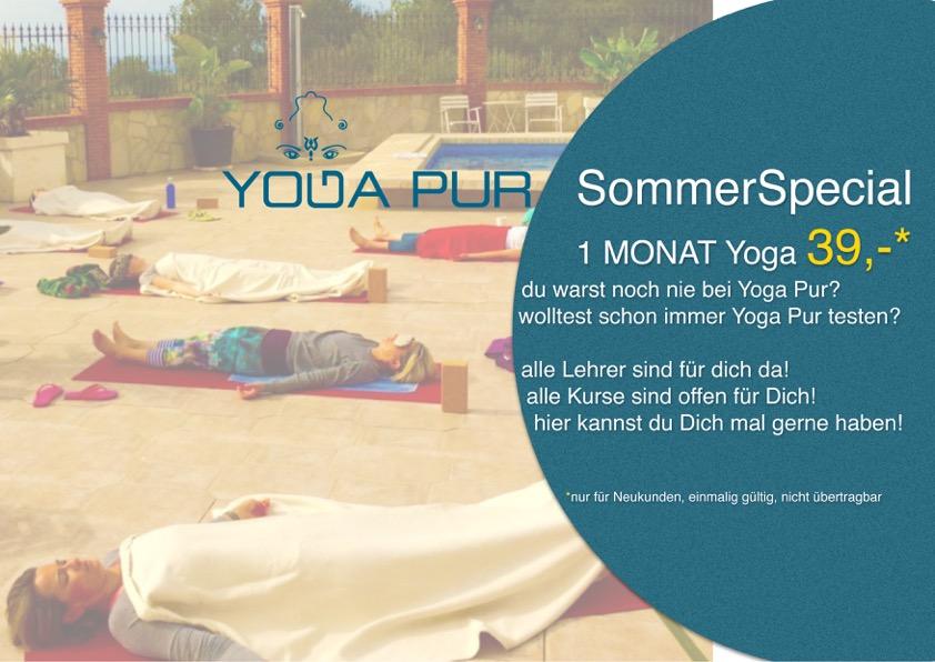 Sommer Spezial - 39€ - alle Kurse, alle Lehrer - 1 Monat Yoga, so oft Du magst!